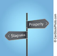 Prosperity vs stagnation choice road sign on blue background...