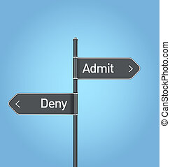 Admit vs deny choice road sign