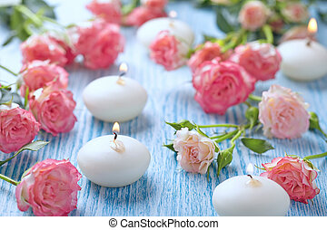 Pink roses bouquet on a wooden table
