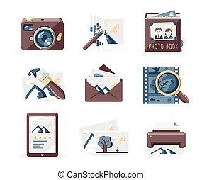 Photography icons set, retro style
