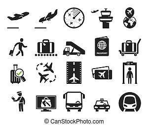 Airport icons collection. Black signs and pictograms
