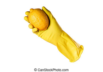 yellow rubber gloves and lemon with clipping path