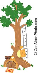 Big fairy tree - Children vector illustration of great fairy...