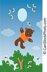 Little bear with balloon and bees - Childrens vector...