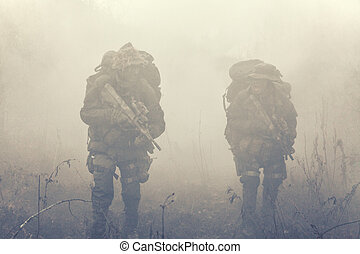 Group of soldiers in the smoke - Group of jagdkommando...