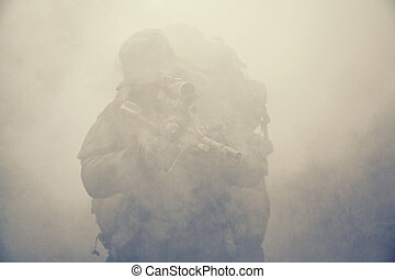 Jagdkommando soldier Austrian special forces in the smoke
