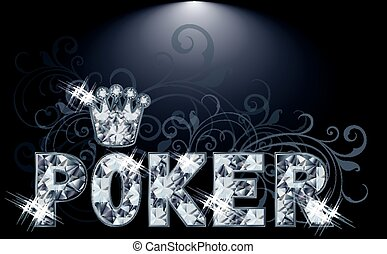 Diamond poker card, vector illustration
