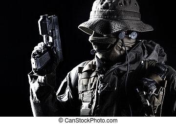 Jagdkommando, soldado, con, pistol, ,