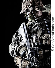 Jagdkommando soldier Austrian special forces with rifle on...