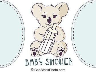 Koala with bottle of milk. Baby shower