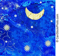 artwork with moon and stars - blue collage with moon and...