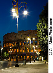 Colosseum and lantern - Colosseum with street view and...