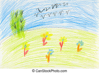 Color kid art on white paper - flock - Naive color kid art...