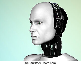 The face of a robot man - An image of a robot mans head