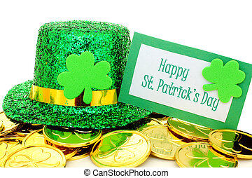 Happy St Patricks Day tag with party hat and gold coins over...