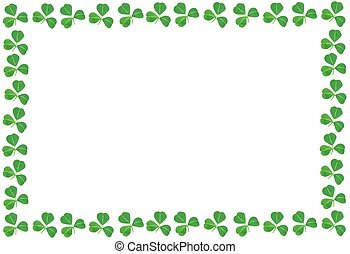 St Patricks Day shamrock frame over a white background
