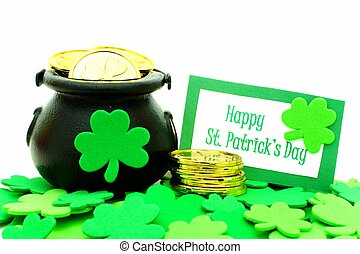 Happy St Patricks Day card with Pot of Gold and shamrocks...