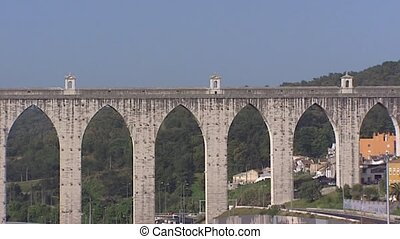 Aguas Livres Aqueduct over the Alcantara valley, Portugal -...