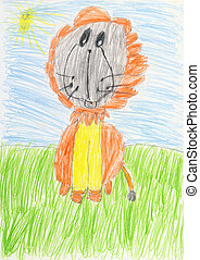 Drawing on a white paper made the child - lion - Color...