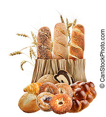Bread Collection On White Background