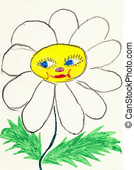 Naive color drawing on a white paper made the child -...