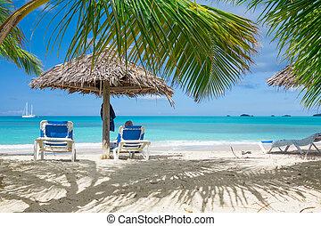 Tropical beach - Chairs on white sand tropical beach