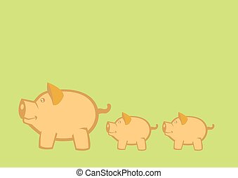 Pigs and Piglets Vector Illustration - Vector illustration...