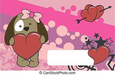 cute puppy girl cartoon valentine