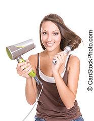 hair care - beautiful teenage with long hair