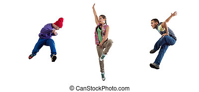 Hip hop dancers - Group of dancer in jump isolated on white