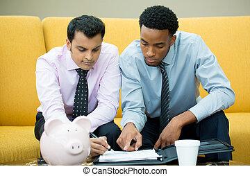 Businessmen - Closeup portrait, two young men in ties doing...