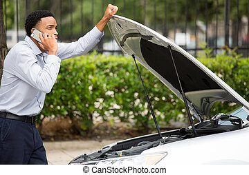 Car break down - Closeup portrait, young man having trouble...