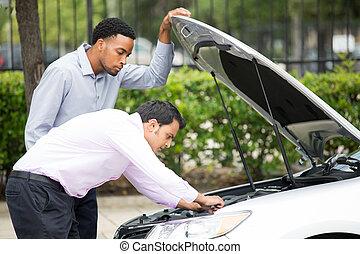 engine breakdown repair - Roadside assistance. Closeup...