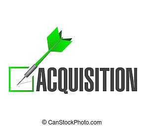 adquisición, aprobación, cheque, dardo,...