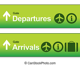 green Arrival and departures airport signs isolated over a...