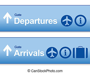 blue Arrival and departures airport signs isolated over a...