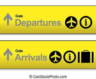 yellow Arrival and departures airport signs isolated over a...
