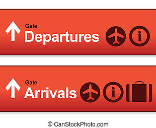 red Arrival and departures airport signs isolated over a...