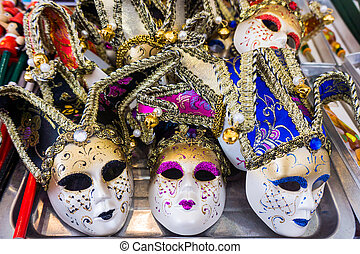 Venetian masks.  Masks in Venice, Italy