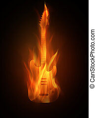 Burning - The hot burning contour of a guitar