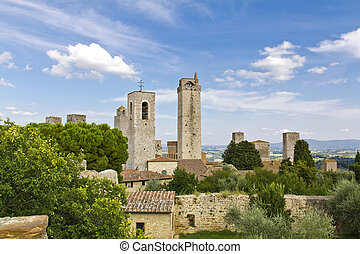 San Gimignano - The towers of San Gimignano, Siena, Italy