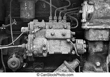 Diesel Engine  - Detail of old diesel engine.