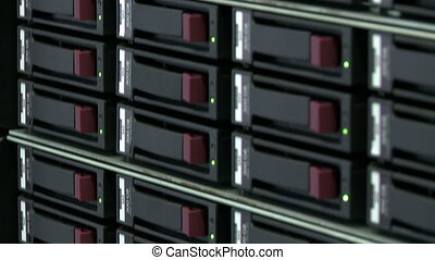 Close-up of modern server computer in data center - View of...