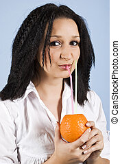 Close up of drinking girl orange fresh - Close up of beauty...