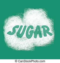 sugar illustration - white sugar scattered on teal...