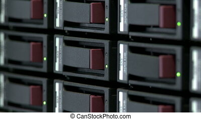 Close-up of switches on server computer - View of switches...