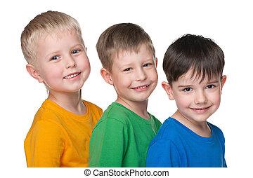 três, Feliz, pequeno, meninos,