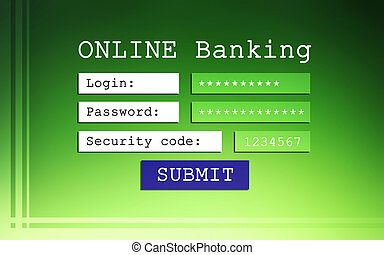 Online banking background - login, password and security...