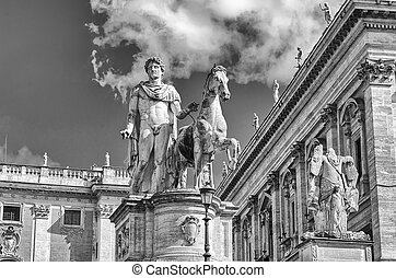 Equestrian statue of Pollux on Capitol. Rome. Italy