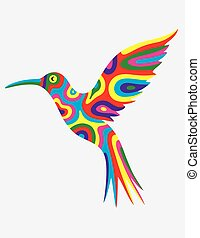 Humming bird abstract colorfully, art vector illustration
